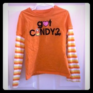 Kid's Halloween shirt candy corn striped size 7/8